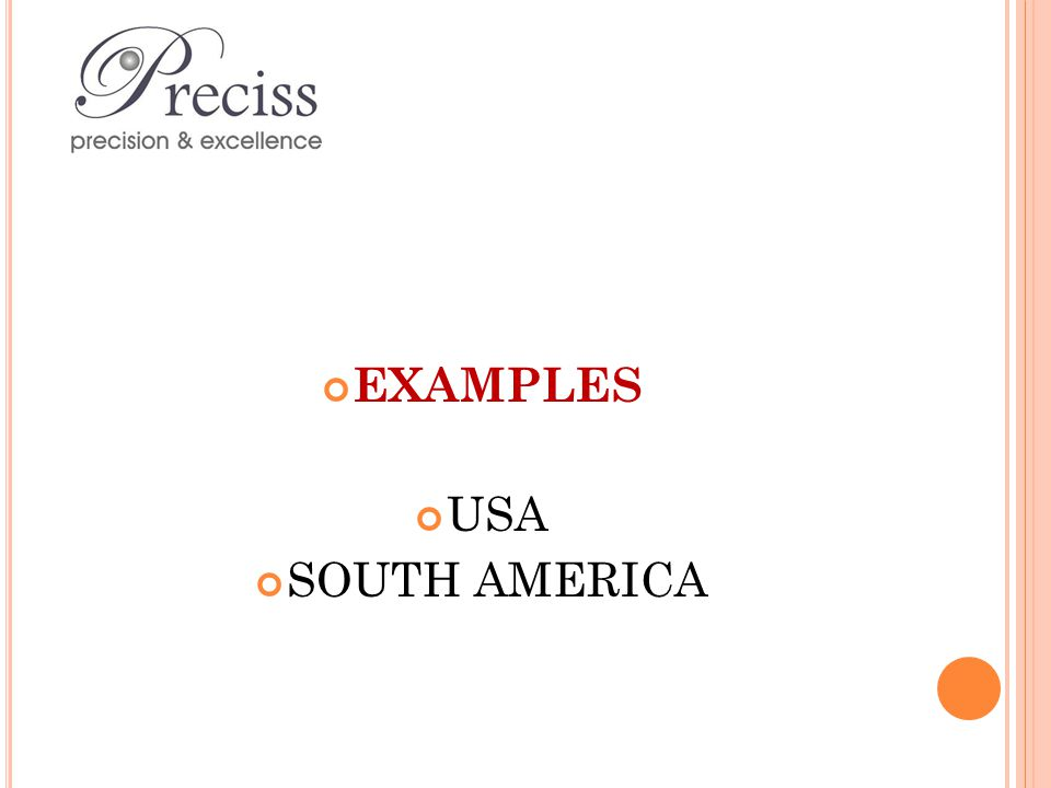 EXAMPLES USA SOUTH AMERICA