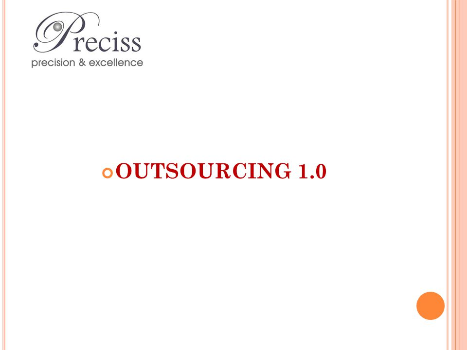 Traditional outsourcing model Large deals Time-based contracts Outsourcing processes to one vendor Started to change around 2002 (post 9/11) Outsourcing 2.0 emerged Key players leading the way eg IBM