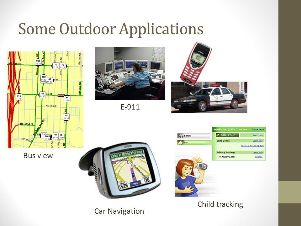 Some Outdoor Applications Car Navigation Child tracking Bus view E-911