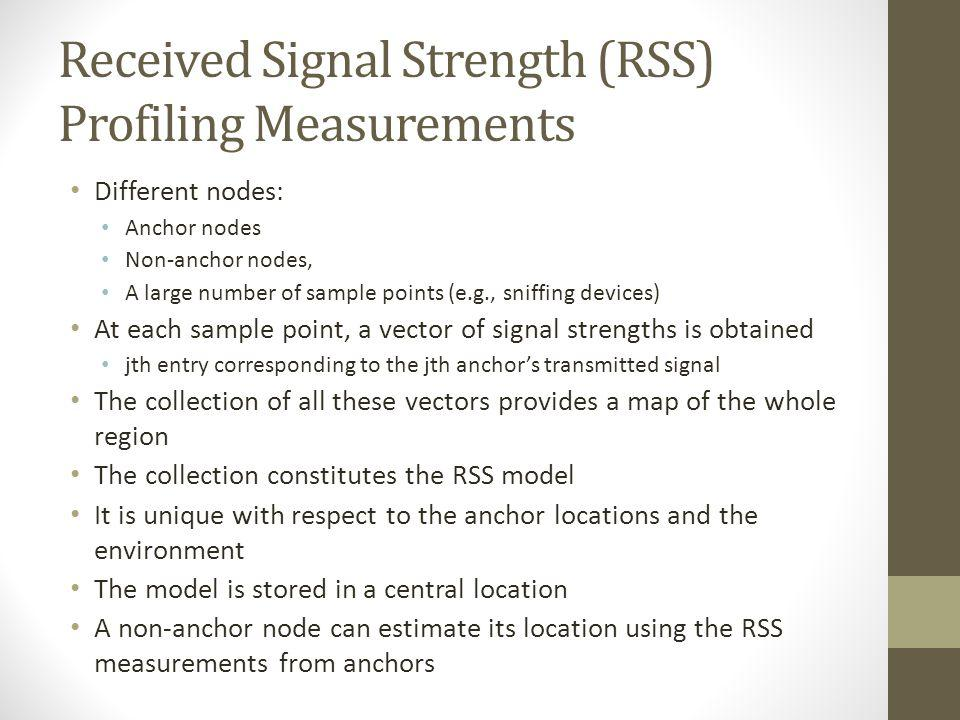 Received Signal Strength (RSS) Profiling Measurements Different nodes: Anchor nodes Non-anchor nodes, A large number of sample points (e.g., sniffing