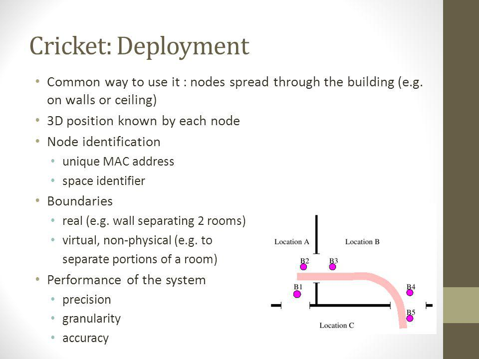 Cricket: Deployment Common way to use it : nodes spread through the building (e.g. on walls or ceiling) 3D position known by each node Node identifica