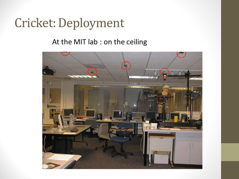 Cricket: Deployment At the MIT lab : on the ceiling