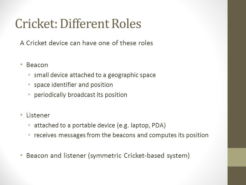 Cricket: Different Roles A Cricket device can have one of these roles Beacon small device attached to a geographic space space identifier and position