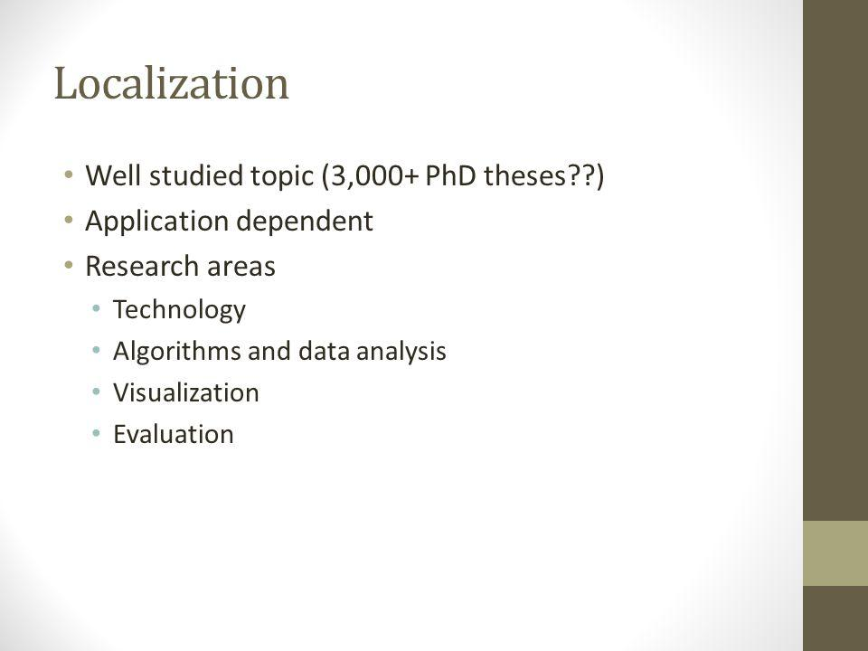 Localization Well studied topic (3,000+ PhD theses??) Application dependent Research areas Technology Algorithms and data analysis Visualization Evalu
