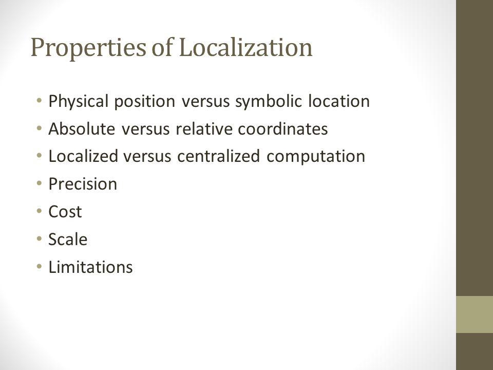 Properties of Localization Physical position versus symbolic location Absolute versus relative coordinates Localized versus centralized computation Pr