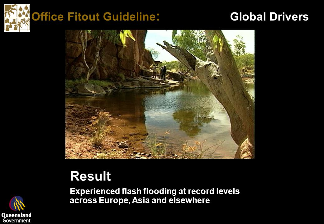 Office Fitout Guideline : Global Drivers Natural Ecosystems Examples Leaves on trees catch and slowly release rain into the ground Natural Ecosystems Examples Leaves on trees catch and slowly release rain into the ground Result Experienced flash flooding at record levels across Europe, Asia and elsewhere Result Experienced flash flooding at record levels across Europe, Asia and elsewhere