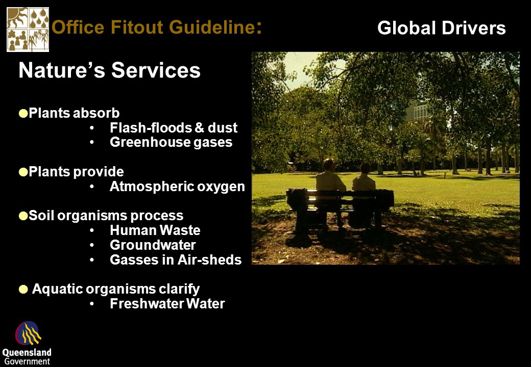 Office Fitout Guideline : Global Drivers Natures Services Plants absorb Flash-floods & dust Greenhouse gases Plants provide Atmospheric oxygen Soil organisms process Human Waste Groundwater Gasses in Air-sheds Aquatic organisms clarify Freshwater Water Natures Services Plants absorb Flash-floods & dust Greenhouse gases Plants provide Atmospheric oxygen Soil organisms process Human Waste Groundwater Gasses in Air-sheds Aquatic organisms clarify Freshwater Water