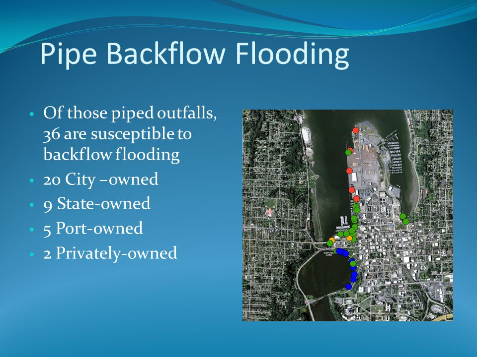 Pipe Backflow Flooding Of those piped outfalls, 36 are susceptible to backflow flooding 20 City –owned 9 State-owned 5 Port-owned 2 Privately-owned