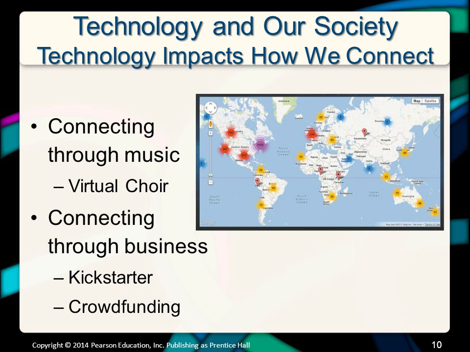 Technology and Our Society Technology Impacts How We Connect Connecting through music –Virtual Choir Connecting through business –Kickstarter –Crowdfu