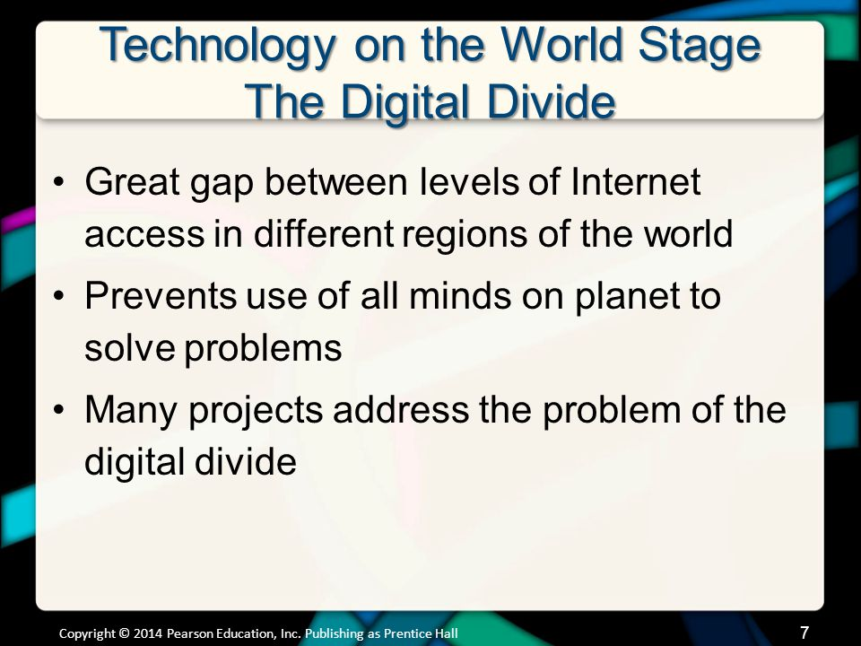 Technology on the World Stage The Digital Divide Great gap between levels of Internet access in different regions of the world Prevents use of all min