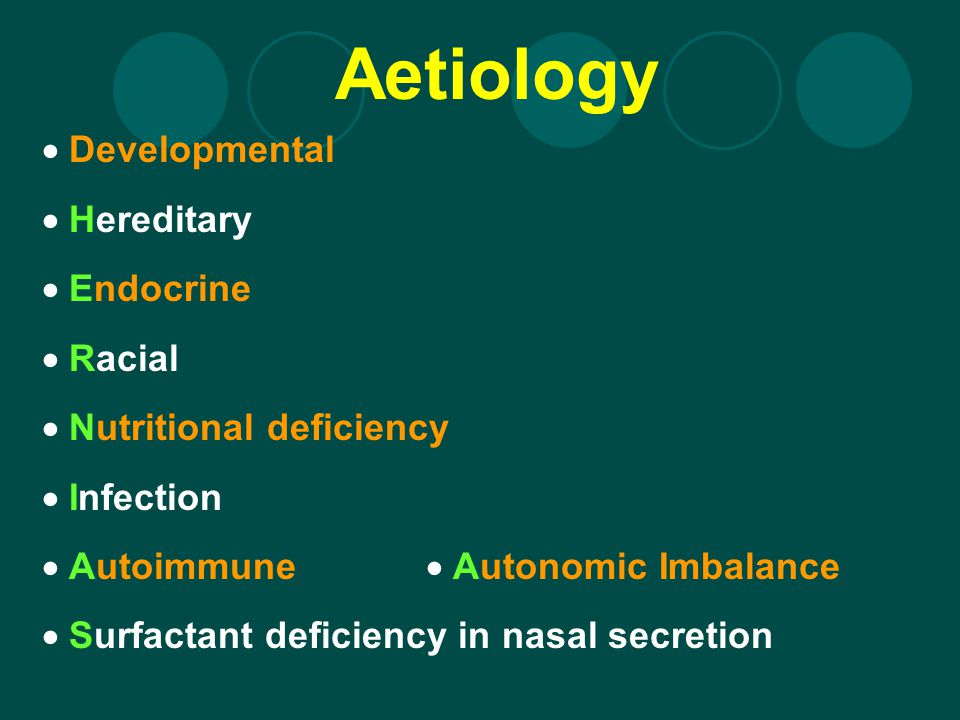 Aetiology Developmental Hereditary Endocrine Racial Nutritional deficiency Infection Autoimmune Autonomic Imbalance Surfactant deficiency in nasal sec