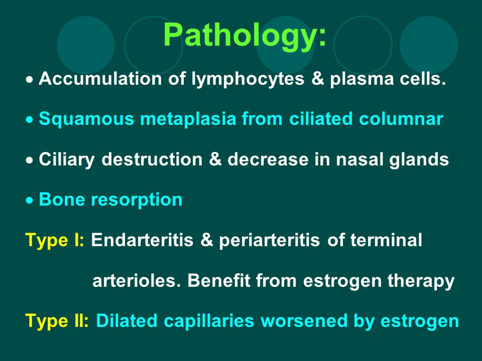 Pathology: Accumulation of lymphocytes & plasma cells. Squamous metaplasia from ciliated columnar Ciliary destruction & decrease in nasal glands Bone