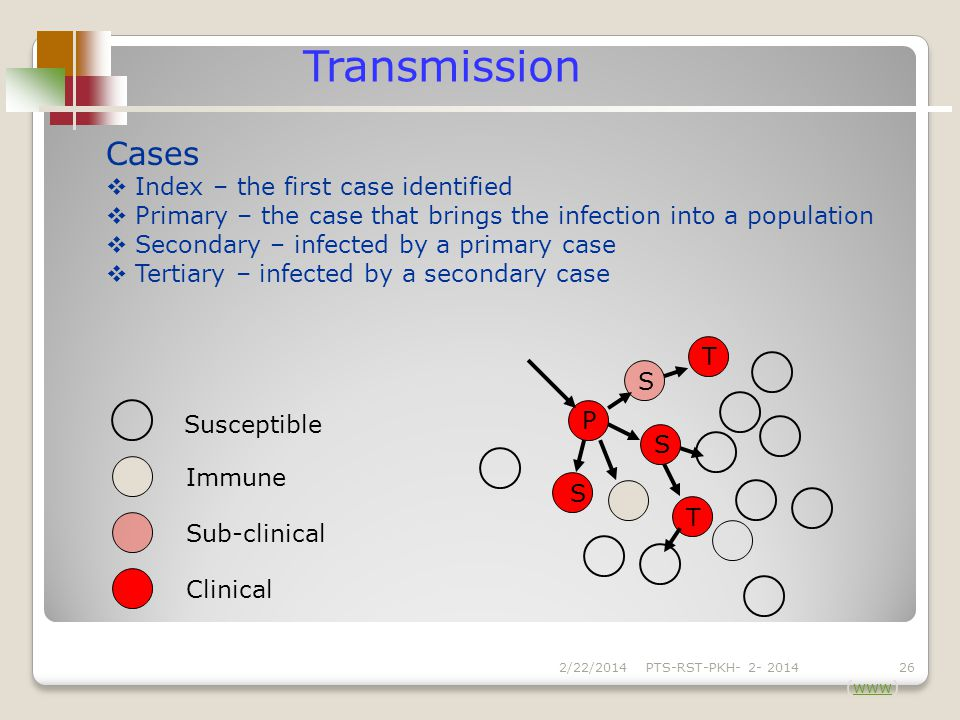 Cases Index – the first case identified Primary – the case that brings the infection into a population Secondary – infected by a primary case Tertiary