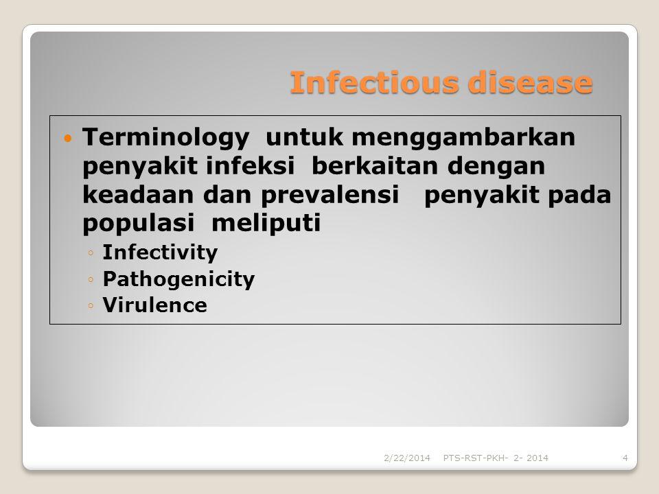 Infectious disease Terminology untuk menggambarkan penyakit infeksi berkaitan dengan keadaan dan prevalensi penyakit pada populasi meliputi Infectivit