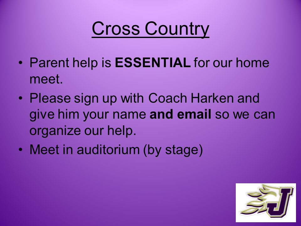 Cross Country Parent help is ESSENTIAL for our home meet.