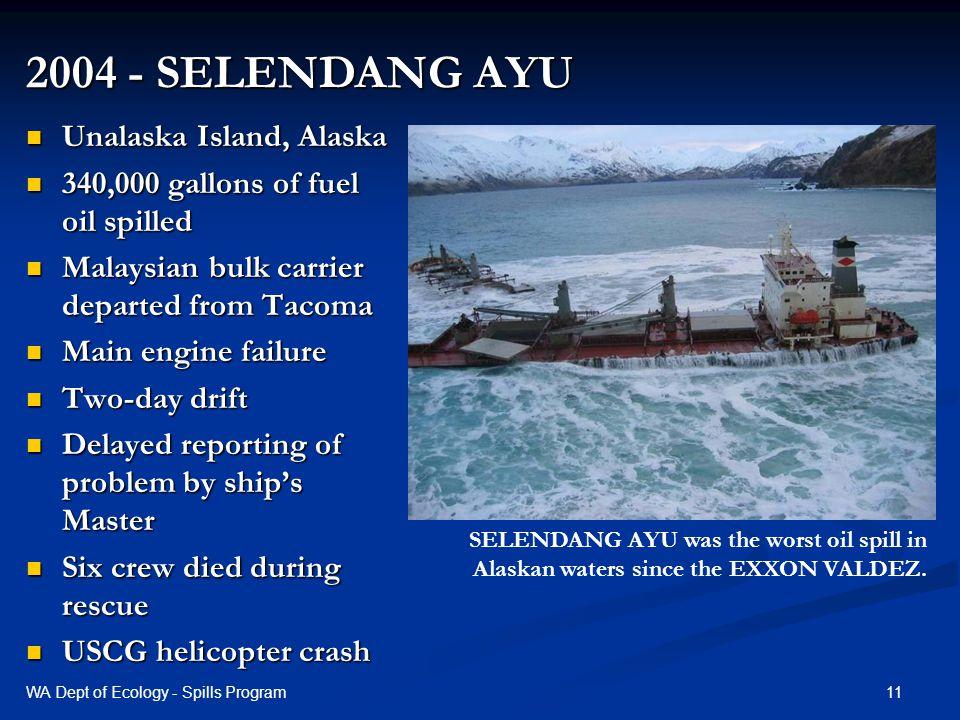 2004 - SELENDANG AYU Unalaska Island, Alaska Unalaska Island, Alaska 340,000 gallons of fuel oil spilled 340,000 gallons of fuel oil spilled Malaysian