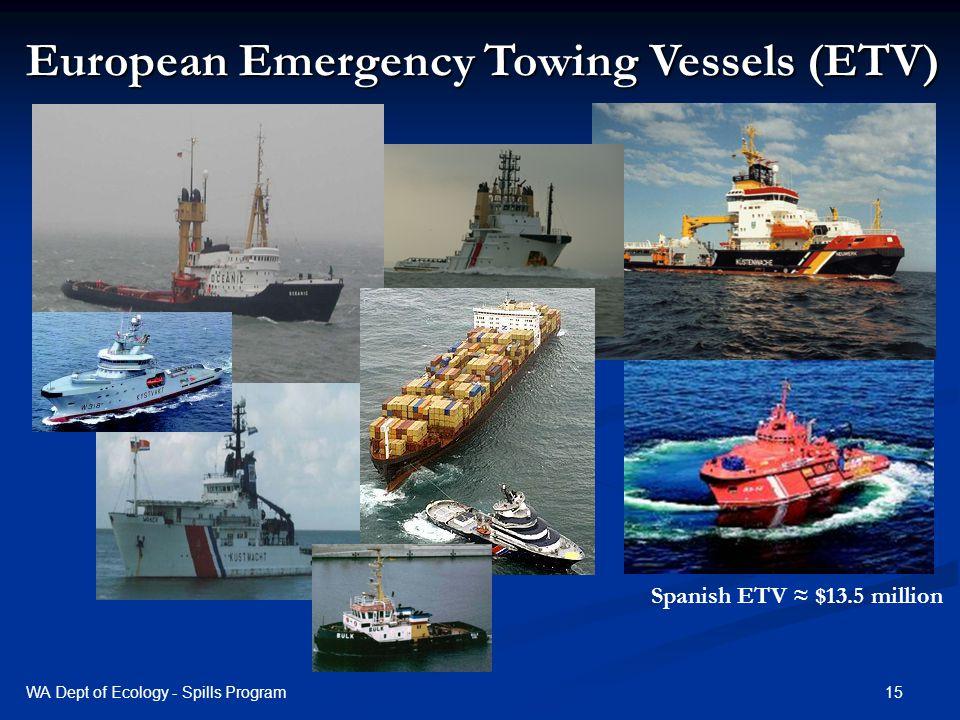 European Emergency Towing Vessels (ETV) Spanish ETV $13.5 million 15WA Dept of Ecology - Spills Program