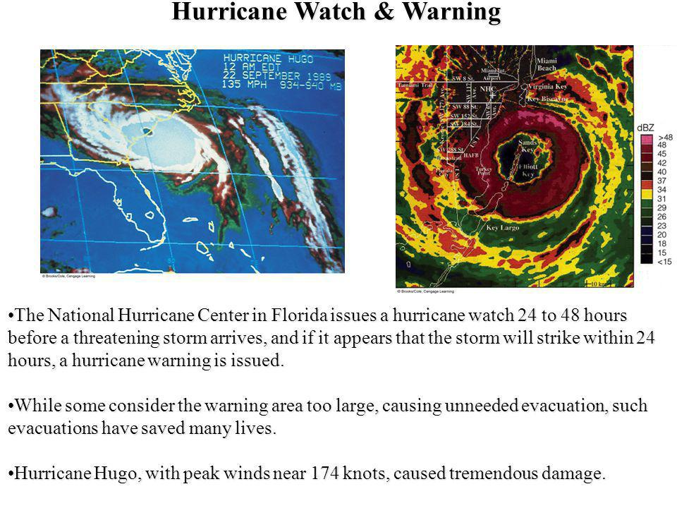 Hurricane Watch & Warning The National Hurricane Center in Florida issues a hurricane watch 24 to 48 hours before a threatening storm arrives, and if