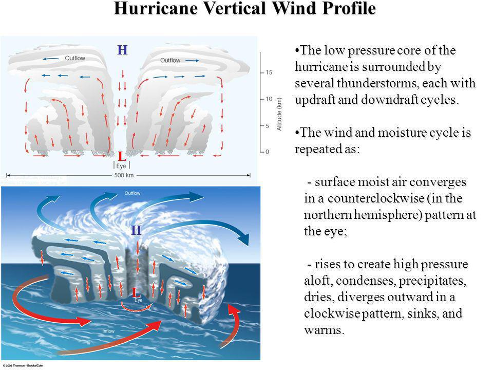 Hurricane Vertical Wind Profile The low pressure core of the hurricane is surrounded by several thunderstorms, each with updraft and downdraft cycles.