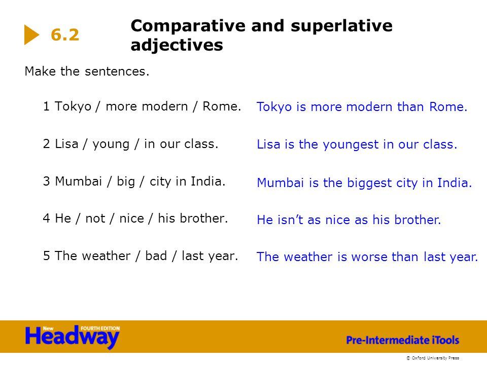 © Oxford University Press Make the sentences. 1 Tokyo / more modern / Rome. 2 Lisa / young / in our class. 3 Mumbai / big / city in India. 4 He / not