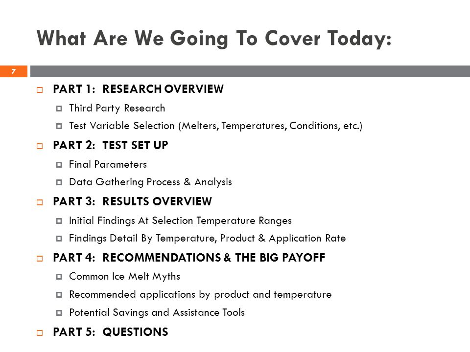 What Are We Going To Cover Today: PART 1: RESEARCH OVERVIEW Third Party Research Test Variable Selection (Melters, Temperatures, Conditions, etc.) PAR