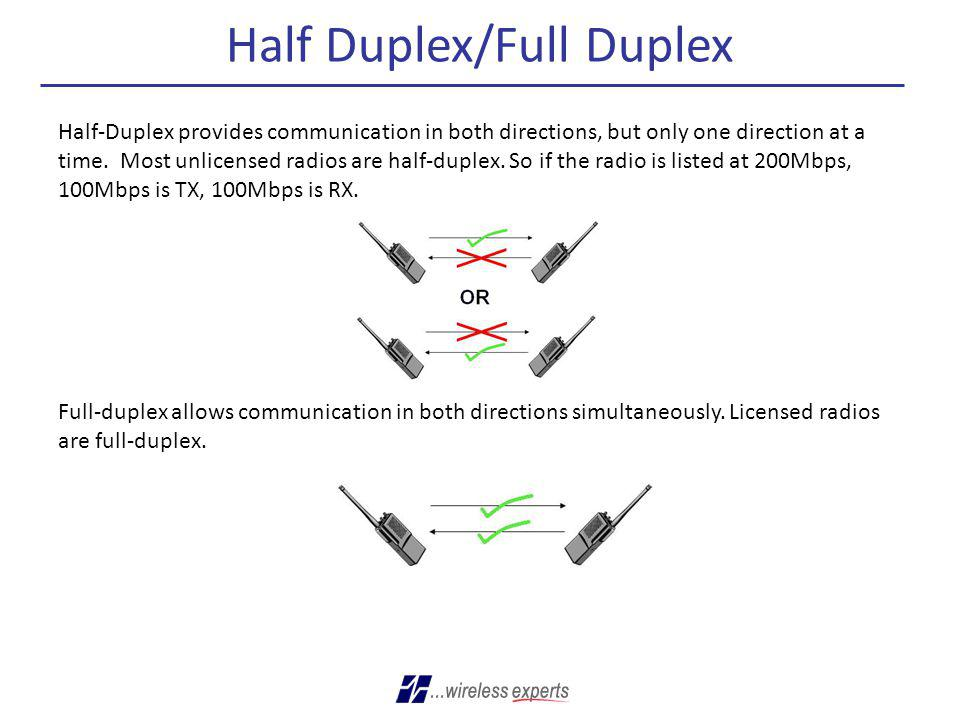 Half Duplex/Full Duplex Half-Duplex provides communication in both directions, but only one direction at a time. Most unlicensed radios are half-duple