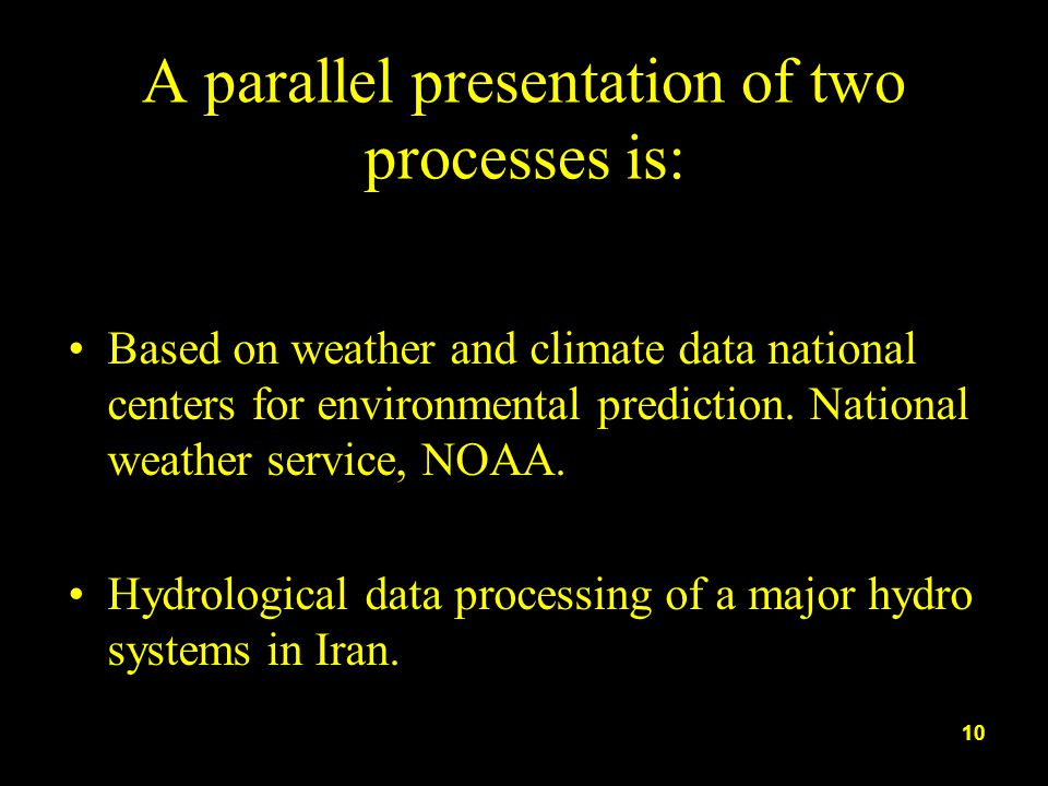 A parallel presentation of two processes is: Based on weather and climate data national centers for environmental prediction. National weather service
