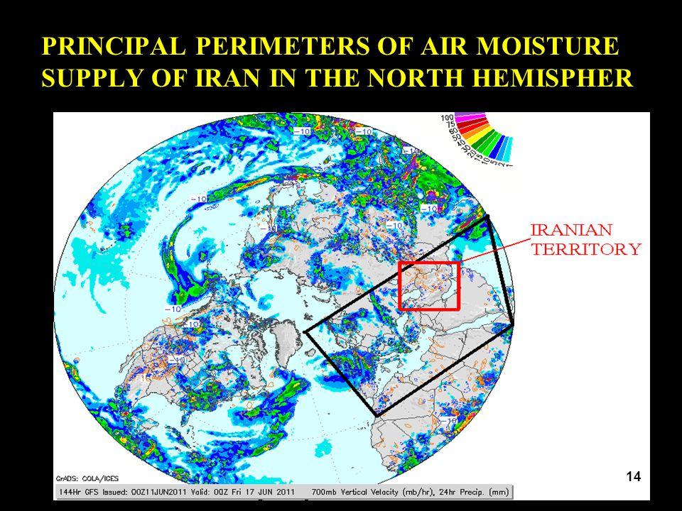PRINCIPAL PERIMETERS OF AIR MOISTURE SUPPLY OF IRAN IN THE NORTH HEMISPHER 14