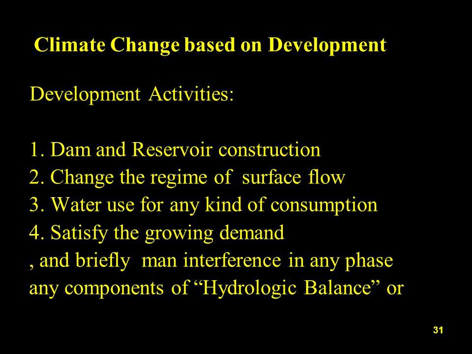 Climate Change based on Development Development Activities: 1.