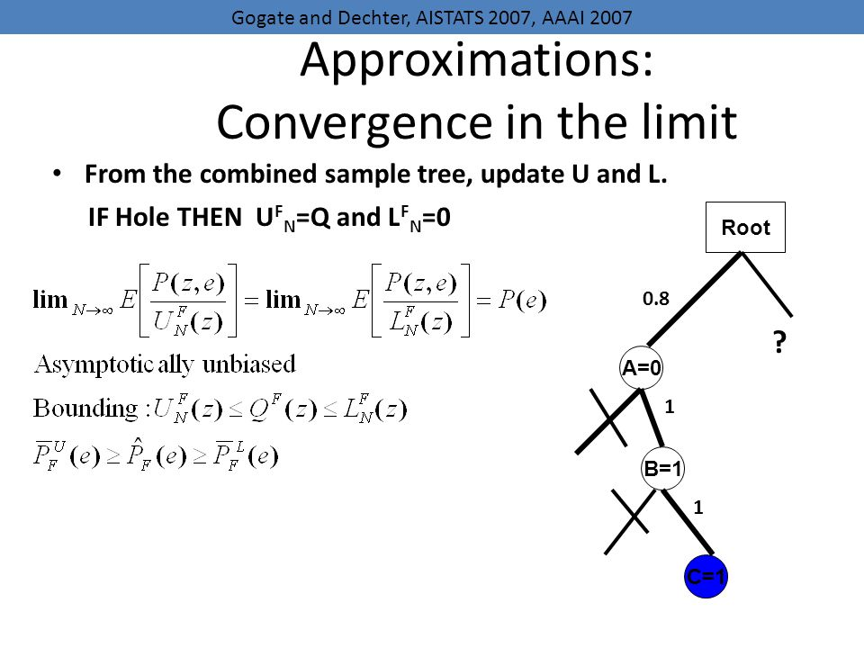 Approximations: Convergence in the limit From the combined sample tree, update U and L.