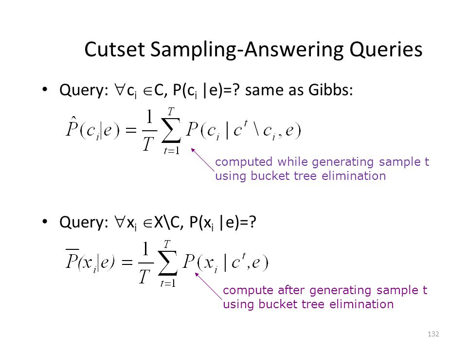 Cutset Sampling-Answering Queries Query: c i C, P(c i |e)=.