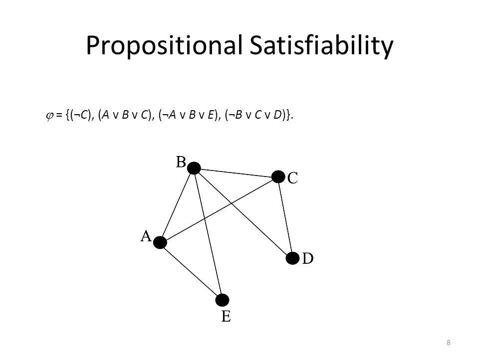 8 = {(¬C), (A v B v C), (¬A v B v E), (¬B v C v D)}. Propositional Satisfiability