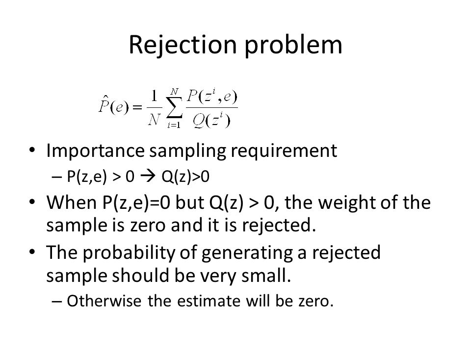 Rejection problem Importance sampling requirement – P(z,e) > 0 Q(z)>0 When P(z,e)=0 but Q(z) > 0, the weight of the sample is zero and it is rejected.
