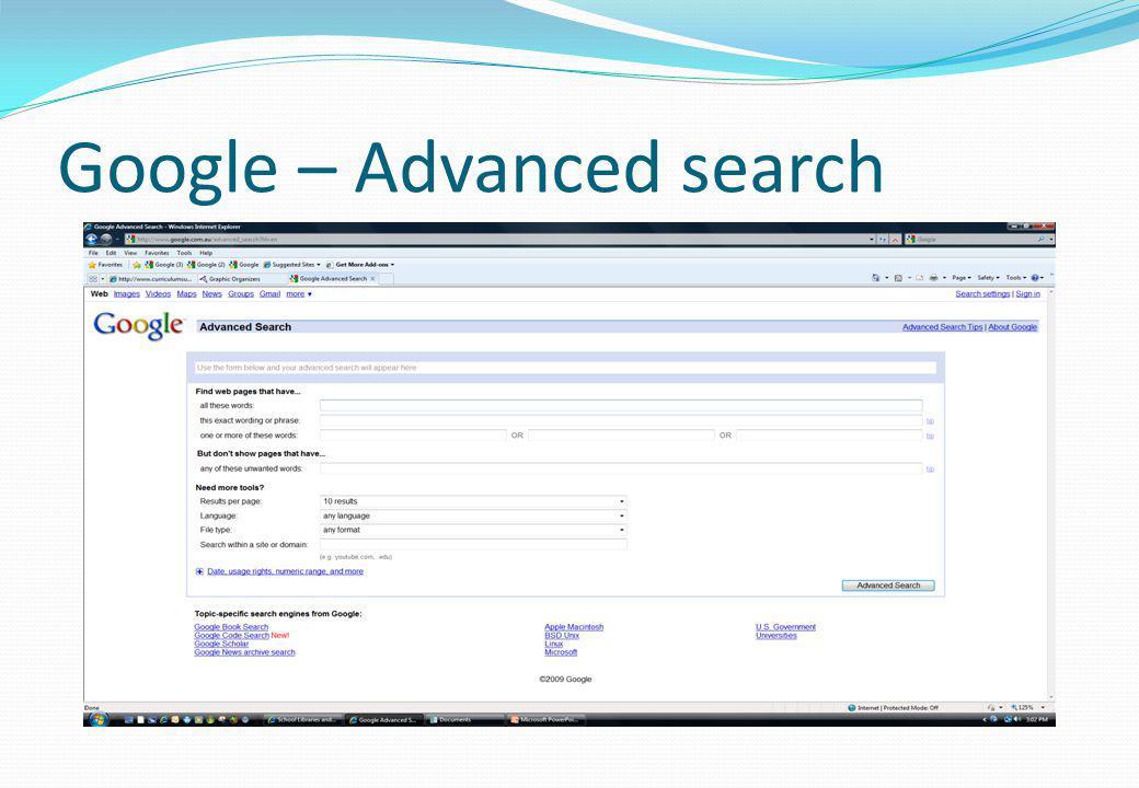 Google – Advanced search