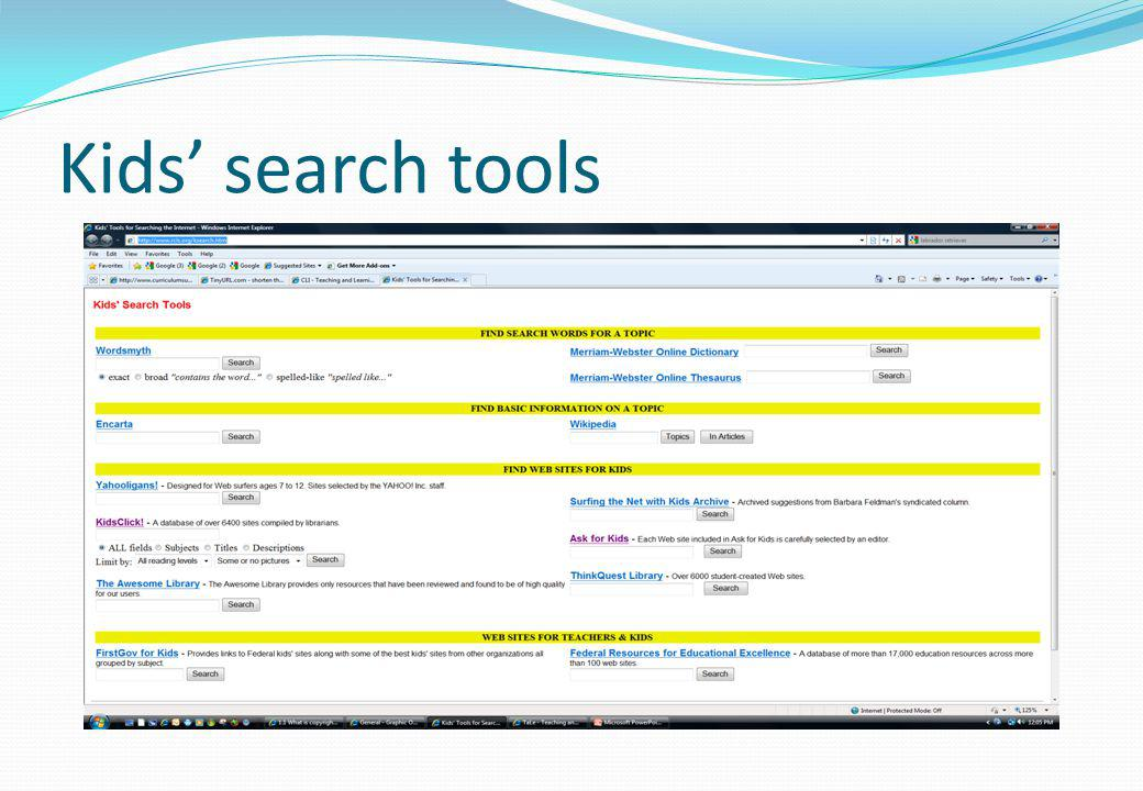 Kids search tools