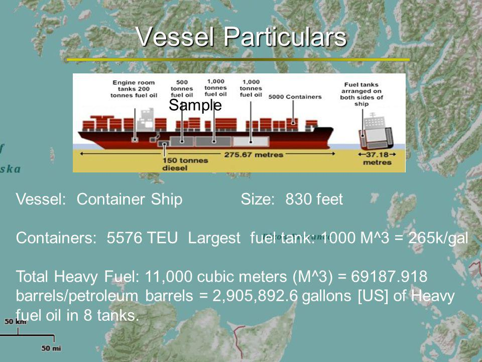 Vessel Particulars Vessel: Container Ship Size: 830 feet Containers: 5576 TEU Largest fuel tank: 1000 M^3 = 265k/gal Total Heavy Fuel: 11,000 cubic meters (M^3) = 69187.918 barrels/petroleum barrels = 2,905,892.6 gallons [US] of Heavy fuel oil in 8 tanks.