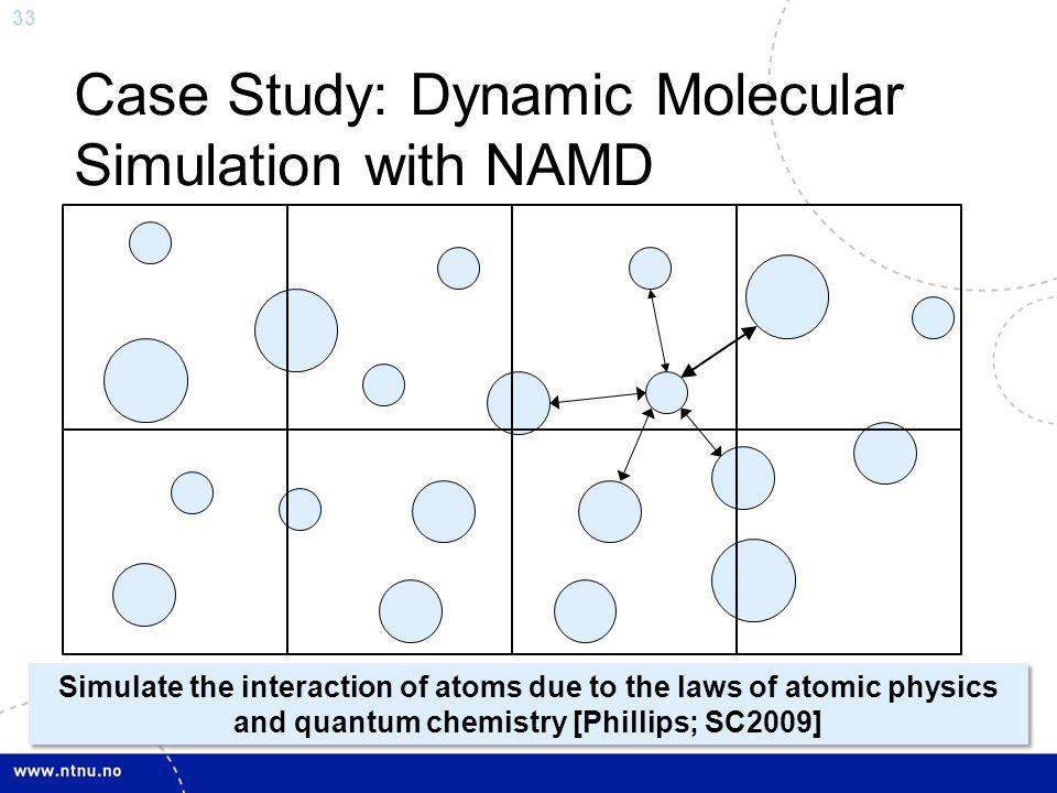 33 Case Study: Dynamic Molecular Simulation with NAMD Simulate the interaction of atoms due to the laws of atomic physics and quantum chemistry [Phill