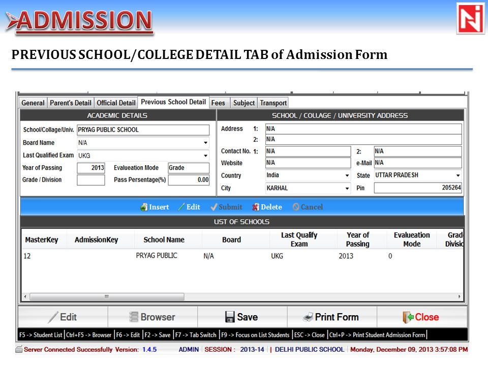 PREVIOUS SCHOOL/COLLEGE DETAIL TAB of Admission Form