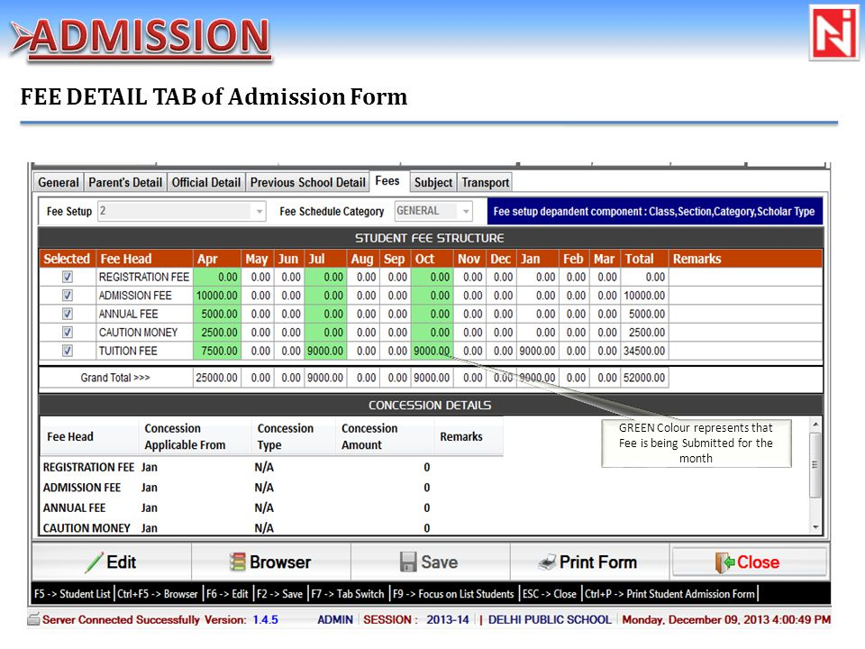 FEE DETAIL TAB of Admission Form GREEN Colour represents that Fee is being Submitted for the month
