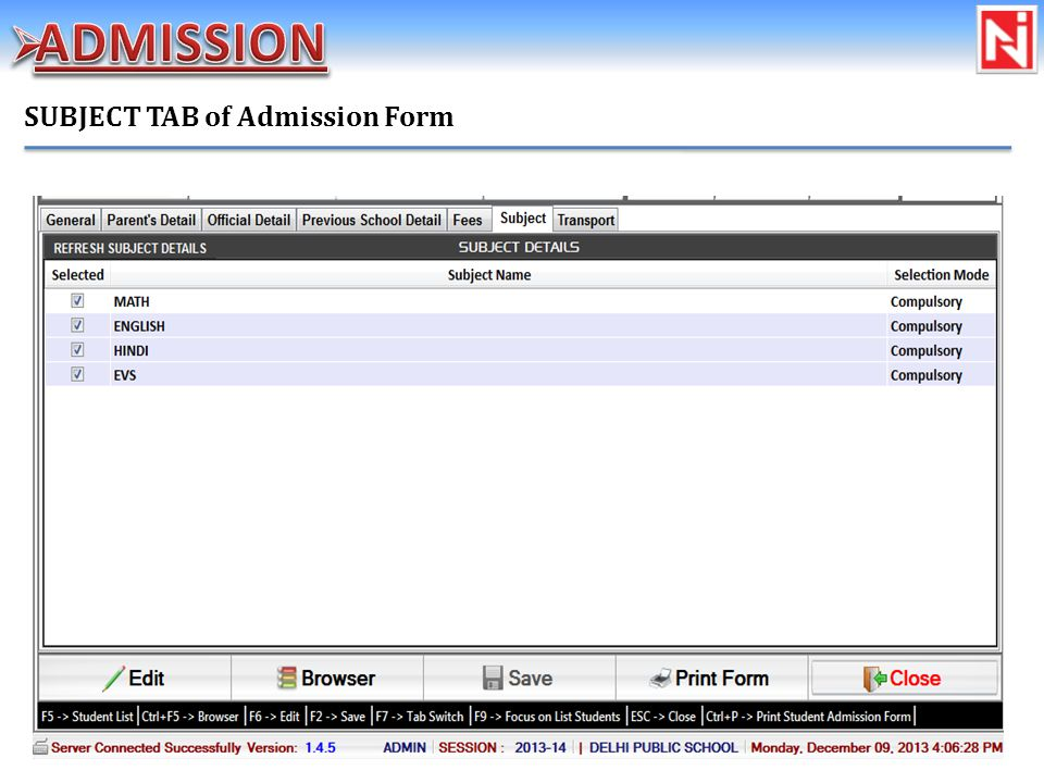 SUBJECT TAB of Admission Form