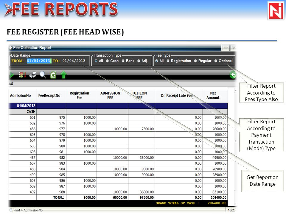 FEE REGISTER (FEE HEAD WISE) Filter Report According to Fees Type Also Filter Report According to Payment Transaction (Mode) Type Get Report on Date Range