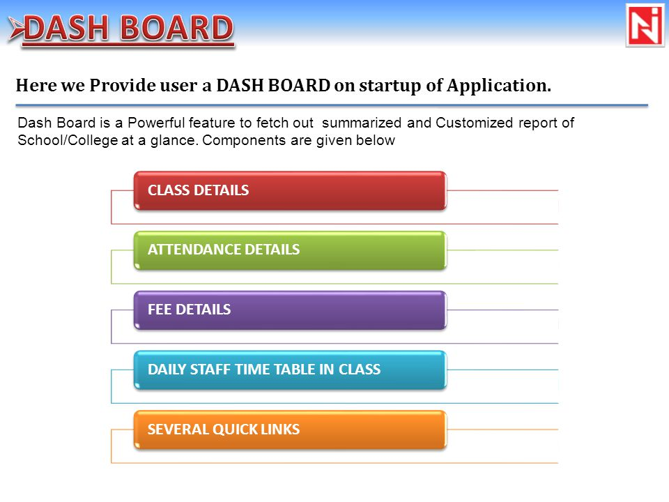 Here we Provide user a DASH BOARD on startup of Application.