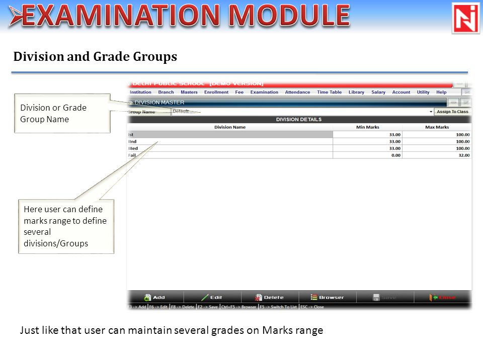 Division and Grade Groups Here user can define marks range to define several divisions/Groups Just like that user can maintain several grades on Marks range Division or Grade Group Name
