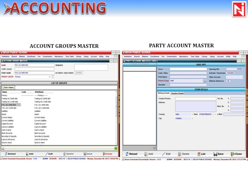 ACCOUNT GROUPS MASTER PARTY ACCOUNT MASTER