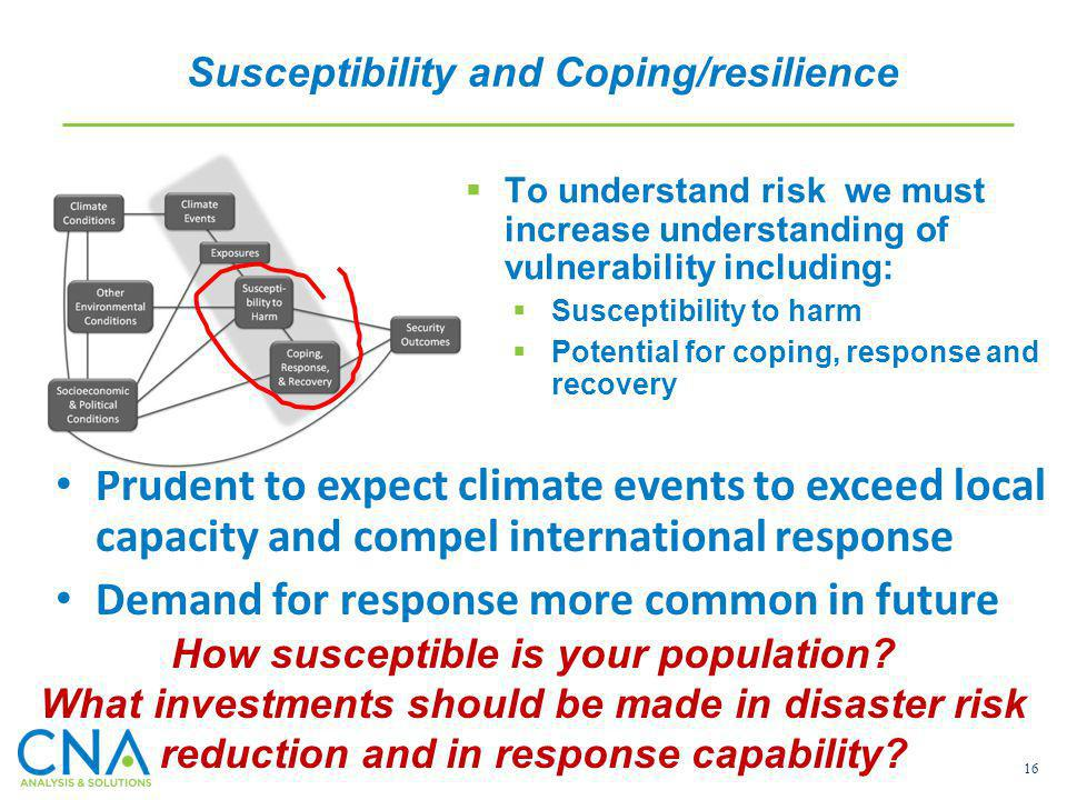 16 To understand risk we must increase understanding of vulnerability including: Susceptibility to harm Potential for coping, response and recovery Pr