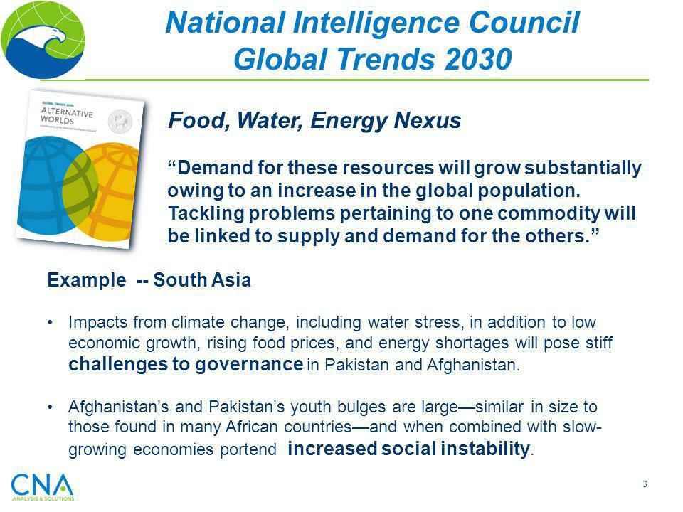 3 National Intelligence Council Global Trends 2030 Food, Water, Energy Nexus Demand for these resources will grow substantially owing to an increase i