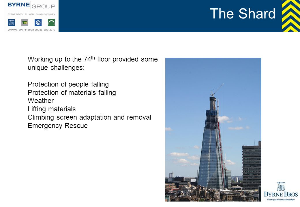 The Shard Working up to the 74 th floor provided some unique challenges: Protection of people falling Protection of materials falling Weather Lifting