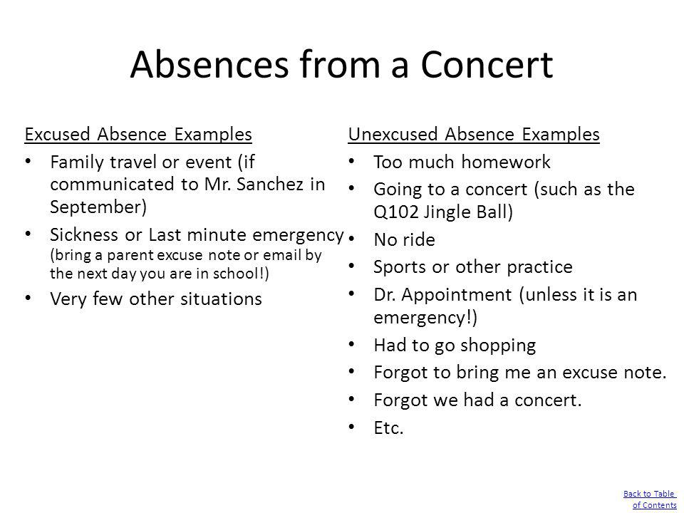 Absences from a Concert Excused Absence Examples Family travel or event (if communicated to Mr. Sanchez in September) Sickness or Last minute emergenc