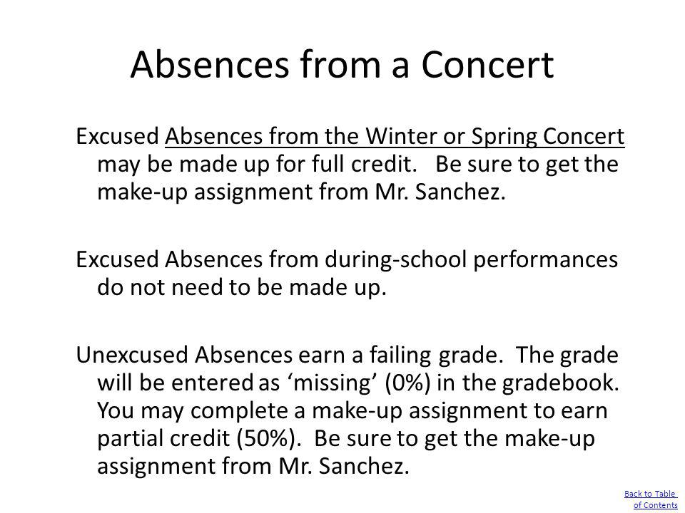 Absences from a Concert Excused Absences from the Winter or Spring Concert may be made up for full credit. Be sure to get the make-up assignment from
