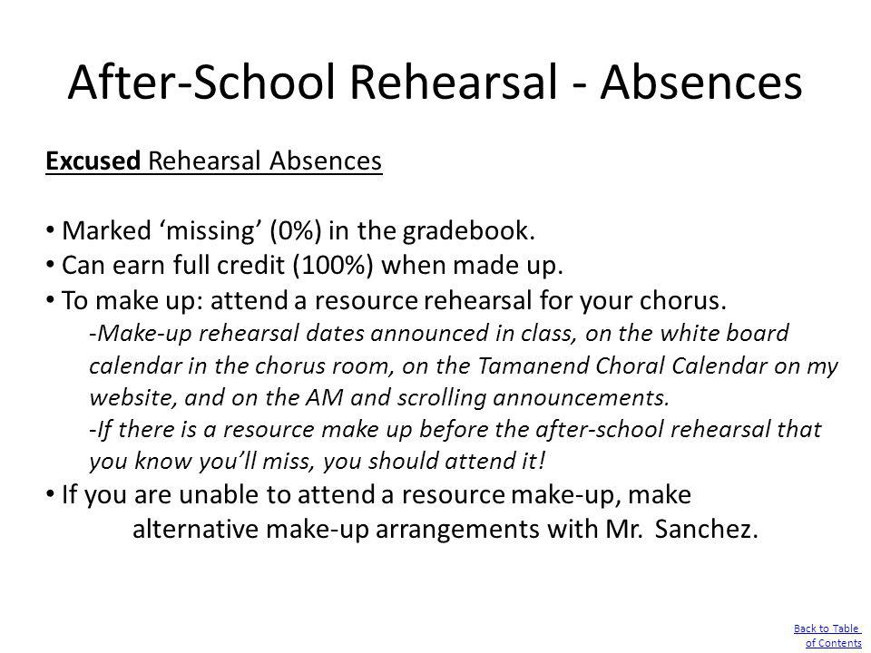 After-School Rehearsal - Absences Excused Rehearsal Absences Marked missing (0%) in the gradebook. Can earn full credit (100%) when made up. To make u